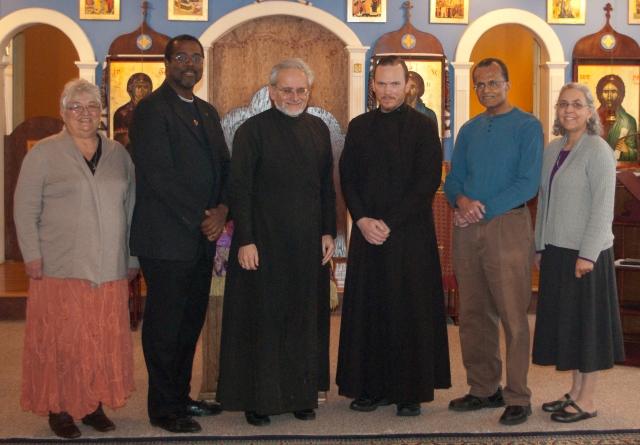 First meeting attendees (l to r):  Sarah Motley, John Gresham, Fr. Robert Holet, Dcn Nektarios Kanney, Basil Carter